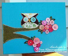 Button Owl Canvas Art