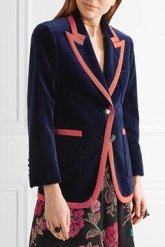 Gucci - Grosgrain-trimmed Velvet Blazer - Navy - IT40