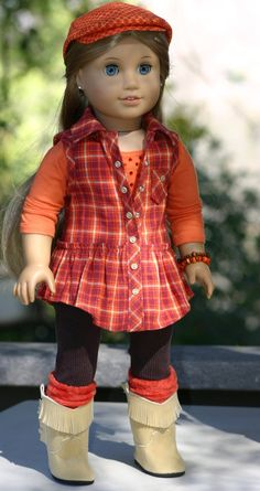 American Girl Doll Clothes- Plaid Tunic Top, Blinged T-shirt, Leggings, Boot…