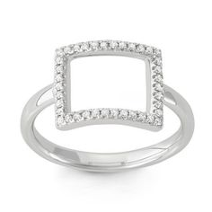 14k Gold Diamond Accent Open Rectangle Midi Ring (Size ), Women's