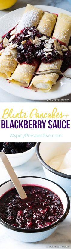 Sweet Ricotta Cream Filled Blintz Pancakes Recipe with Blackberry Sauce What's For Breakfast, Breakfast Dishes, Breakfast Recipes, Pancake Recipes, Blackberry Sauce, Blackberry Recipes, Crepe Recipes, Brunch Recipes, Dessert Recipes