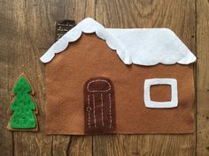 Felt busy bag gingerbread house from a pattern by Wild Olive Felt Busy Bag, Busy Bags, Wild Olive, Christmas Gingerbread House, Christmas Decorations To Make, Toddler Activities, Playroom, Homemade, Crafty