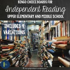 Do your middle school students struggle with choosing books to read independently? Gamify independent reading with bingo style choice boards! Read it. Log it. Cross it off.
