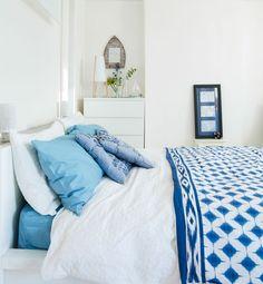 白牆, 藍色布織品, 海濱, 海洋風情, 臥室