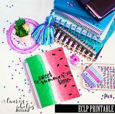Summer Watermelon PRINTABLE CVR-002-EC for Erin Condren Life Planner or Spiral Notebook Dashboard or Dividers by LaurenPhelpsDesigns on Etsy