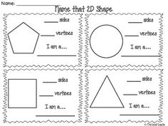 These free worksheets include two pages for students to name 2D shapes by identifying the number of sides and vertices. Shapes included: octagon, decagon, heptagon, hexagon, pentagon, circle, square (quadrilateral), and triangle.  Need shape posters for word walls?