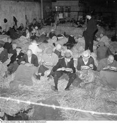 May 1945. Collaborators and members of the Dutch nazi party (NSB) incarcerated at a detention camp on the Levantkade in Amsterdam. In total approximately 120,000 collaborators were arrested after the liberation. Photo NFA/Nederlandse Fotomuseum / Charles Breijer #amsterdam #wordwar2
