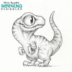 Prehistoric Reptile Thursday: the Velociraptor!  Recent discoveries have shown that Raptors did indeed have feathers. However, I was tired, so no feathers. Hooray for artistic license!  #morningscribbles