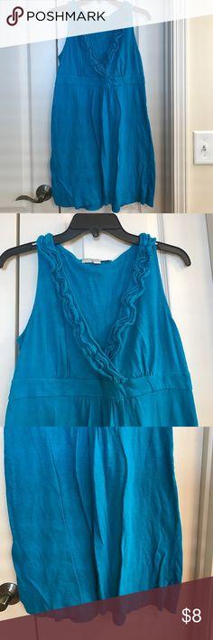 Size m blue loft ruffle dress Size m blue loft ruffle dress LOFT Dresses
