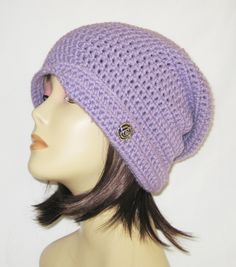 "flipped side brim slouch,beanie,hat,cap,decorated with button,made to fit teens & adults 21-23"", lavender by Jeniebugs on Etsy"