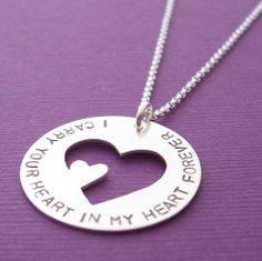 I Carry Your Heart Necklace in Sterling Silver -  Hand Stamped Memorial Pendant by Eclectic Wendy Designs. $65.00, via Etsy.