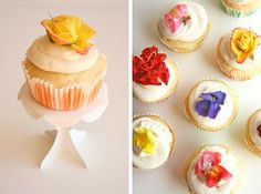 edible flowers on simple vanilla cupcakes. (fun for a little girl's party)