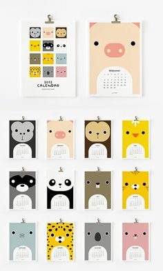 calendar of animal faces. Could do with card stock and scrapbook paper Calendar Layout, Art Calendar, Calendar Design, Web Design, Layout Design, Book Design, Creative Calendar, Kids Branding, Identity Branding