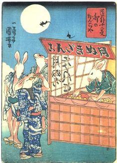 DUMPLING SHOP BY LABBIT  KUNIYOSHI UTAGAWA 1798-1861 Last of Edo Period