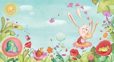 Mommy bunnie, love, butterflies, froggs, birds, ladybugs, flowers, snails, sunny day.  By Amandine Piu.