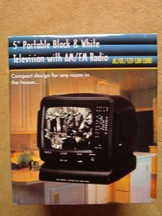 "Promo King 5"" Portable Black & White Television with AM/FM Radio"