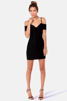 Strappily Ever After Off-the-Shoulder Black Dress at LuLus.com!