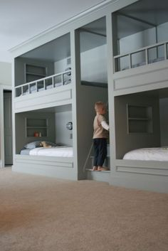 boy bunk room - traditional - bedroom - other metro - findpause_pressplay Bunk Beds Built In, Bunk Beds With Stairs, Bed Stairs, Bunk Bed Plans, Mini Loft, Bunk Rooms, Bedrooms, Bunk Bed Designs, Traditional Bedroom