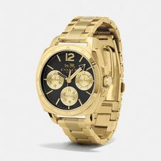 Coach Boyfriend Gold Plated Multifunction Bracelet Watch (1.815 DKK) ❤ liked on Polyvore featuring jewelry, watches, sporty watches, gold plated jewelry, bracelet jewelry, coach bracelet and gold plated jewellery