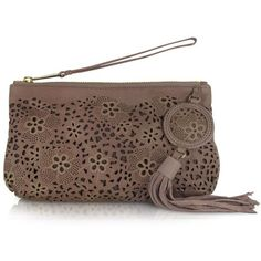 Vanessa Bruno Laser Trim Leather Clutch ($210) ❤ liked on Polyvore