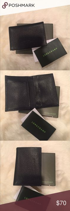 LONGCHAMP black leather card holder LONGCHAMP black leather card holder.  New with tags.  Dimensions: 4.14 x 2.34 inches. 1 bellows pocket, 2 card slots, 1 flat pocket. Longchamp Accessories Key & Card Holders