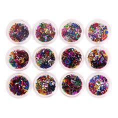 12Bottles Nail Art Glitter Stickers Shining Mini 26 Letters Alphabet DIY Manicure 3D Nail Tips Decoration Glitter Stickers #Affiliate