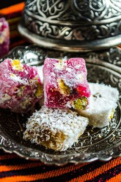 """""""Lokum"""" or Turkish Delight is perfect with tea or coffee. Think of it as a little ball of sugar filled with sweet nuts and nice flavors. Homemade Turkish Delight, Candy Recipes, Dessert Recipes, Persian Desserts, Patisserie Fine, Iranian Food, Arabic Food, Arabic Sweets, Middle Eastern Recipes"""