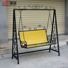 Double exterior rocking swing, wrought iron basket hanging garden pa … - All About Balcony