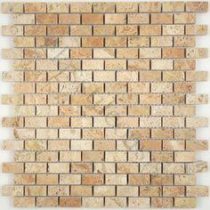 Tuscan Glass  Brick Series, Uniform Brick, Dark Travertine, Polished, Cream/Beige, Stone