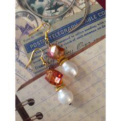 Pearl Earrings, Teardrop Earrings, Freshwater Pearl Jewelry, Baroque... ($34) ❤ liked on Polyvore featuring jewelry, earrings, heart earrings, amber earrings, pearl jewelry set, ivory pearl earrings and white gold pearl earrings