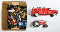 Lot 547: Metal and Plastic Toy Car and Truck Assortment; Including examples from Hubley, Tonka, Lesney Matchbox, Dinky, Mattel Hot Wheels, Topper, Tootsietoy and Made in Japan