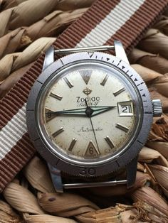 f031a2a3eae Vintage Zodiac Seawolf Automatic Relógios Únicos