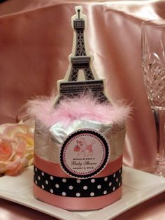 PINK POODLE in PARIS themed diaper cake centerpiece baby shower favors