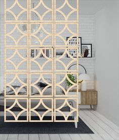 Set of 12 pieces Wooden screens connecting together make a room divider. This room partition is a magician for your space, no matter in office decoration or house design, it is such a wonderful wall art Diy Room Divider, Room Divider Screen, Divider Ideas, Hanging Room Dividers, Room Screen, Room Divider Walls, Room Divider Bookcase, Divider Design, Fabric Room Dividers