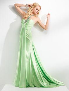 beading satin floor length dress