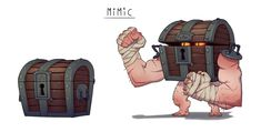 Monster Monday Mimics A Mimic is every DM's wish come true. It is the very concept of insidious traps boiled down into a single, sinister box, that will lop off your hand. Character Design References, Character Art, Dungeons And Dragons 5, Creature Design, Pretty Pictures, Art Boards, Game Art, Concept Art, Cool Designs