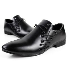 Irregular Lace-up Men Wedding Faux Leather Wing Tip Shoes Casual Dress Oxfords #URBANFIND #WingTip