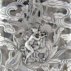 Antique Art Nouveau GORHAM Sterling Silver Overlay, Figural NUDE Lady & Cherub, Liquor Whiskey Hip Flask Bottle