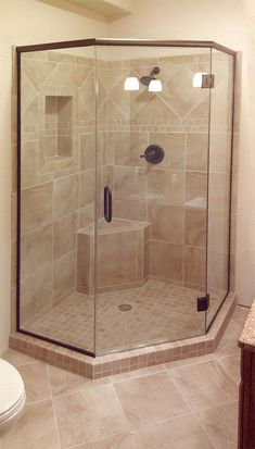 Neo-angle shower surround Right size would need more storage in the walls Bathroom Design Luxury, Bathroom Layout, Modern Bathroom Design, Bathroom Ideas, Small Bathroom With Shower, Master Bathroom Shower, Neo Angle Shower, Shower Surround, Shower Remodel