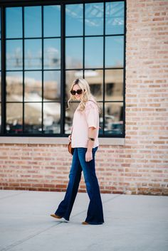 How to Style Women's Flared Denim Jeans — bows & sequins