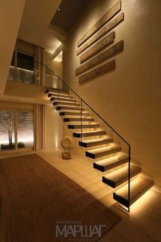 Today's emphasis? The stairs! Here are 26 inspiring ideas for decorating your stairs tag: Painted Staircase Ideas, Light for Stairways, interior stairway lighting ideas, staircase wall lighting. Staircase Lighting Ideas, Stairway Lighting, Floating Staircase, Wall Lighting, Lights On Stairs, Lighting Design, Pendant Lighting, Corridor Ideas, Strip Lighting