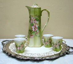 Beautiful Vintage Nippon Reproduction Hand Painted Porcelain Chocolate Pot Set - Light Green Motiff❤❤❤