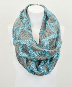 Take a look at this Turquoise & Smoke Diamond Infinity Scarf by Leto Collection on #zulily today!