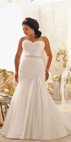 33 Plus-Size Wedding Dresses  A Jaw-Dropping Guide. BacklakeGirls Plus  Sizes Bride Gowns Beaded Crystal Chiffon And Satin Mermaid Wedding Dress ... 929c798cafc0