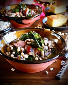 What Are You Eating New Year's Day? Black-Eyed Peas With Ham Hock and Collards Recipe for Lucky Food, Breakfast In Bed, What You Eat, Black Eyed Peas, Ham Hock, Salmon Burgers, Entrees, Food To Make, Lime