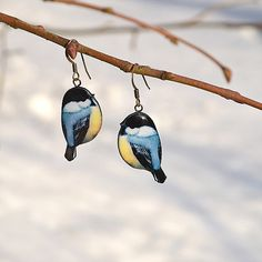 Titmouse bird earrings  animal jewelry  spring by Nechegonadet, $23.00