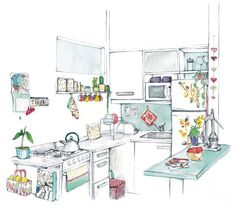 Kitchen Illustration - work (and home) of Bu Lago Millán, the Argentinian artist Line Drawing, Painting & Drawing, Buch Design, House Illustration, Interior Sketch, House Drawing, Urban Sketching, Amazing Art, Art Drawings
