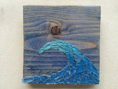 Sea glass art ocean wave art surfboard wall hanging sea by SignsOf