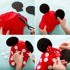 You can make a Minnie Mouse polka dot trucker hat to wear during your next trip to Disneyland or Disney World with this style DIY accessory tutorial. crafts Have the Most Magical Disneyland Spring Break With These Three Outfit Ideas Diy Disney Ears, Disney Mickey Ears, Mickey Mouse Ears Hat, Mickey Ears Diy, Mini Mouse Ears Diy, Minnie Mouse Clothes, Minnie Mouse Ears Disneyland, Mickey Mouse Crafts, Walt Disney