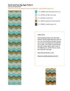 Sand and Sea Zig Zags Peyote Stitch Bracelet Pattern free